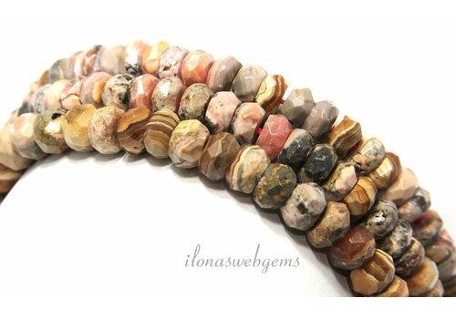 Rhodochrosit Perlen facettiert Rondell rund 8,5x5,5 mm