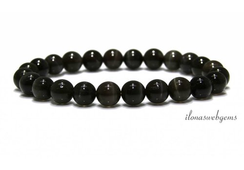 Chrysoberyl sunstone cat's eye bead bracelet AAA quality approx. 8mm