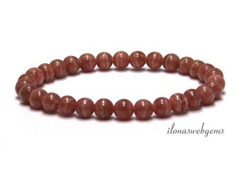 Rhodochrosite bead bracelet AAA quality ca. 6.5mm