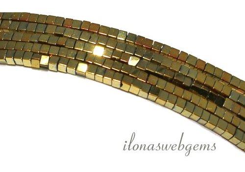 ca 190 stuks Hematiet kralen mini goud ca. 2mm