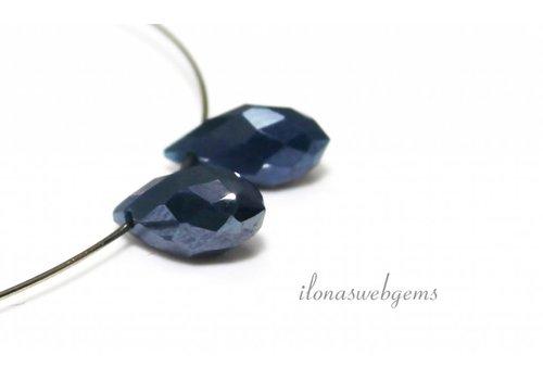 1 pair Swarovski style drops dark blue around 12x6mm