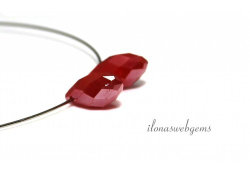 1 pair Swarovski style drops red about 12x6mm
