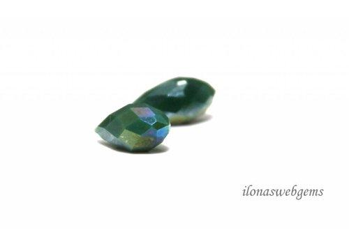 1 pair Swarovski style drops blue-green around 12x6mm