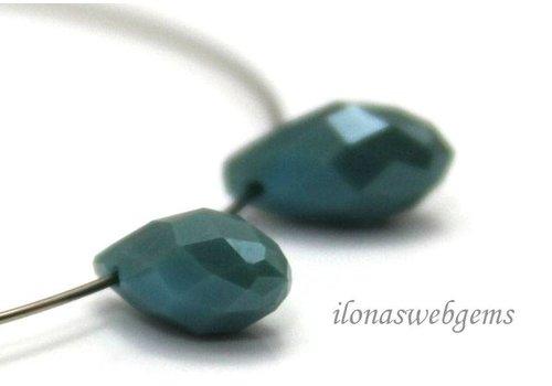 1 pair Swarovski style drops light blue around 12x6mm