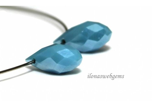 1 pair of Swarovski style drops of clear blue around 12x6mm