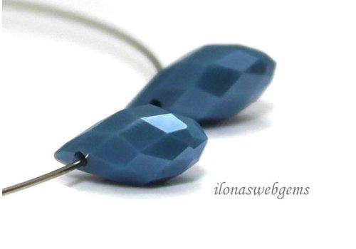 1 Paar Swarovski-Stil fällt blau ca. 12x6mm