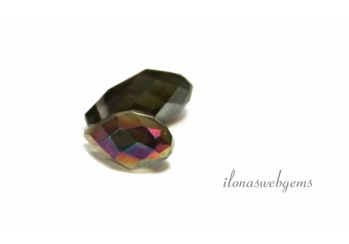 1 pair of Swarovski style drops approx. 12x6mm brown / purple