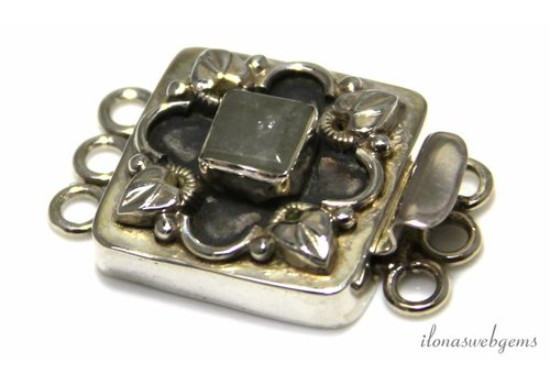 Sterling silver box lock with aventurine