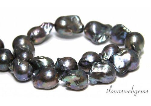 Baroque pearls anthracite around 25-15mm
