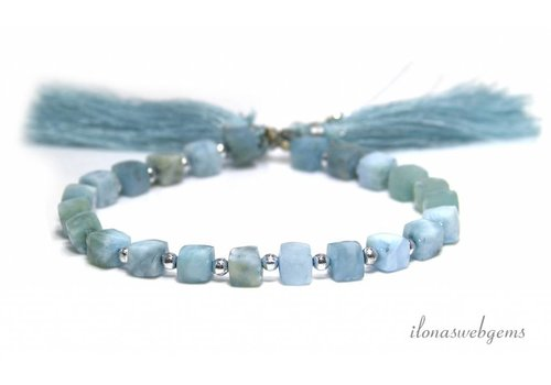 Larimar beads facet cube approx. 7-5mm