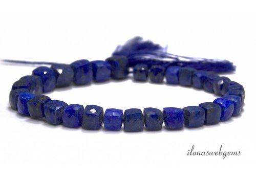Lapis Lazuli kralen facet kubus ca. 6-8mm