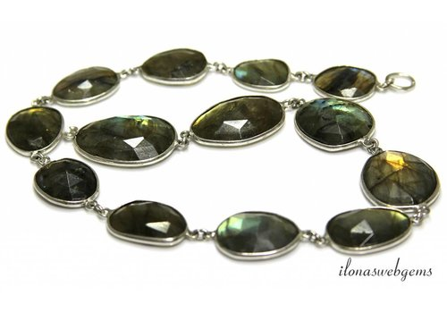 Silver plated chain with Labradorite connectors approx. 15-23mm