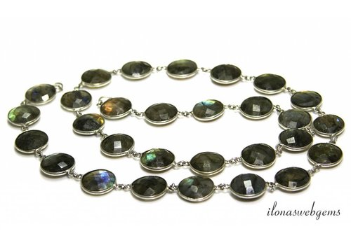 Silver plated chain with Labradorite connectors approx. 13-14mm