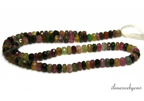 Tourmaline beads faceted roundel A quality about 6x5mm