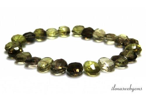 Bio Lemon Quartz beads faceted roundel around 9-12mm