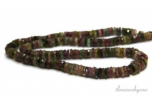 1 cm. Tourmaline beads facet discs on and descending of approx. 6x2mm