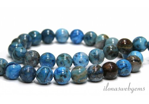 Blue crazy Agaat kralen rond ca. 10mm