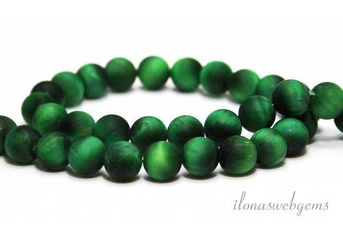 Tigerauge Perlen gefrostet grün ca. 8mm