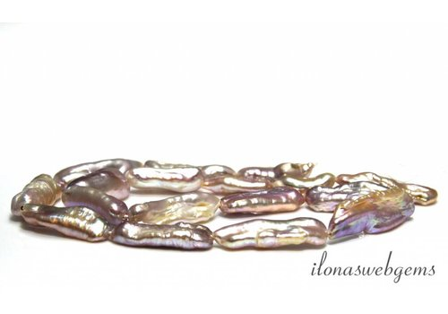 Biwa-Perlen lila / Lachs um 21x8x5mm