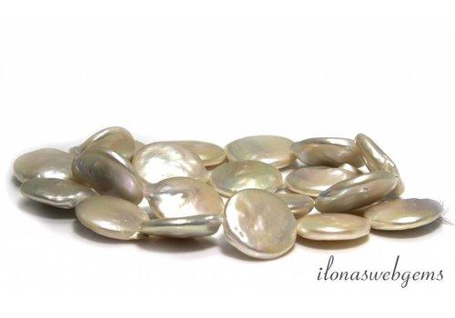 Coin parels wit grote maat ca. 19x5mm