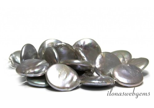 Coin pearls Silver large size approx. 18.5x5mm