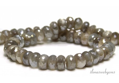 Mystic Moonstone beads faceted roundel around 8x6mm
