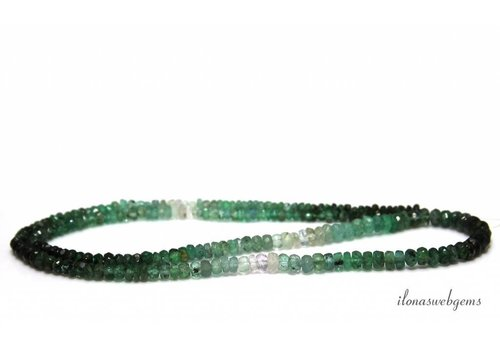 Emerald beads facet roundel shaded up and down from approx. 2x1.5 to 4x2mm