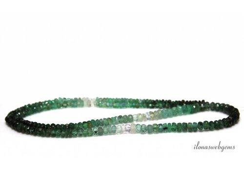 Smaragdperlen Facettenrundel von ca. 2x1,5 bis 4x2mm auf und ab schattiert
