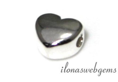 Sterling Zilveren kraal hartje ca. 7x6mm