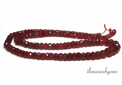 Ruby bead faceted roundel ascending and descending from approx. 4x2 to 8x5mm