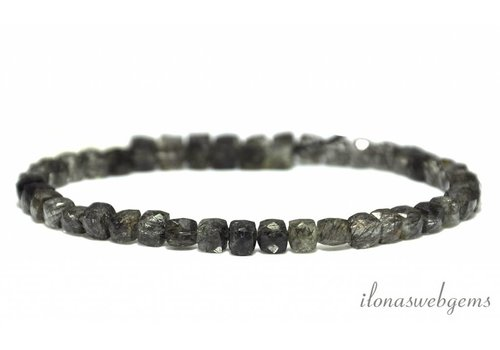 Black Rutile Tourmaline quartz beads cube facet about 4-6mm