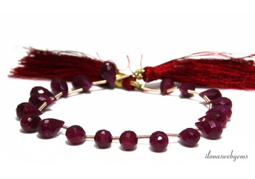 Ruby droplets facet on and off from approx. 9x5.5 to 11x6mm