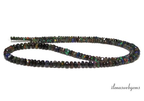 Black Edelopaal beaded faceted roundel ascending and descending from approx. 4x2 to 8x5mm