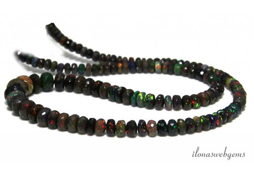 Black Edelopaal beaded faceted roundel rising and falling from approx 4.5x2 to 8x5mm