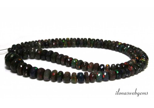 Black Edelopaal beaded faceted roundel rising and descending from approx. 6x4 to 10.5x7mm