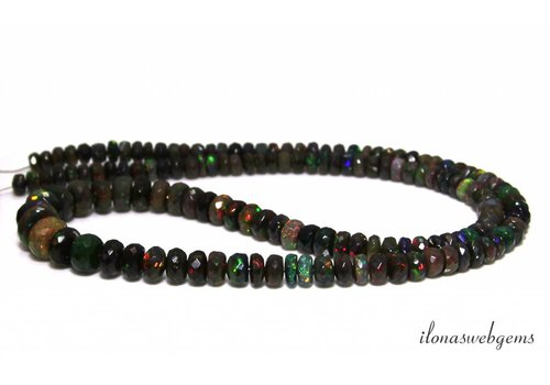 Black Edelopaal bead faceted roundel ascending and descending from approx. - 4x2.5 to 9x5.5mm