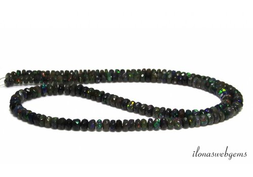 Black Edelopaal beads facet roundel ascending and descending of approx. 3x1.5 to 4.5x2.5mm