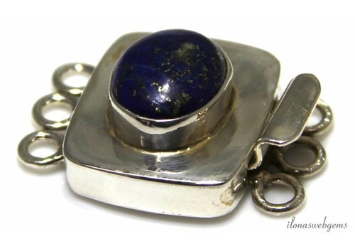 Sterling silver box lock with Lapis Lazuli