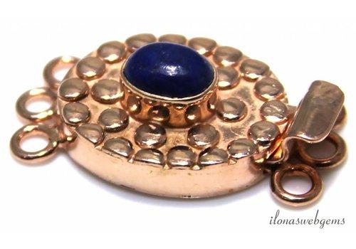 Rosé vermeil bakslotje met Lapis Lazuli