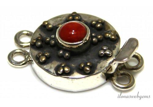 Sterling zilveren bakslotje met Oud-hollands Bloedkoraal