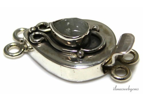 Sterling silver box lock with aquamarine