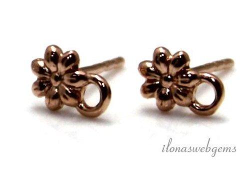 1 pair of Rose Vermeil flower earrings