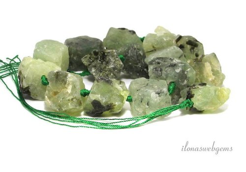 Prehnite beads rough approx. 15-25mm