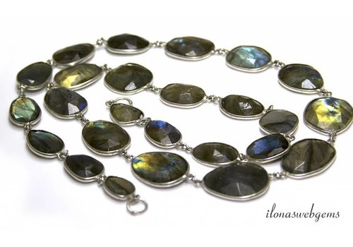 Silver plated chain with Labradorite connectors on and off from approx. 11x10 to 23x17mm