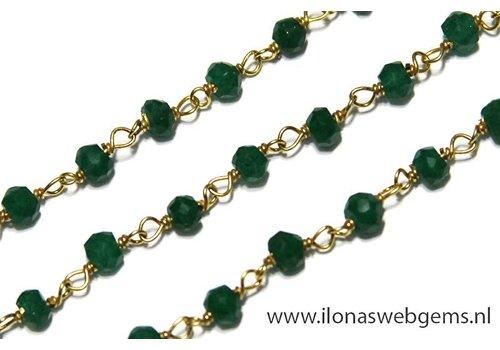 9 cm Vermeil Halskette mit Perlen Smaragd