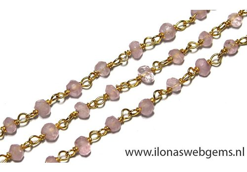 9 cm Vermeil Halskette mit Perlen Rosenquarz