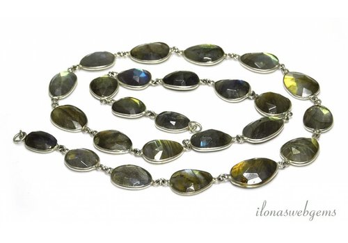 Silver plated chain with Labradorite connectors on and off from approx. 11x10 to 23x17mm - Copy