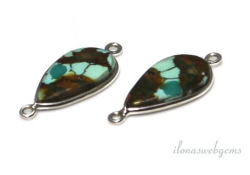 2 Sterling silver connectors with Turquoise around 23x12mm - Copy