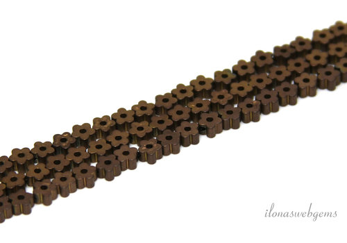 Mini Hematiet kralen bloemen ca. 3.5mm