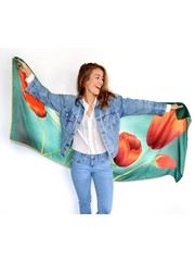 tulips Scarf dark green